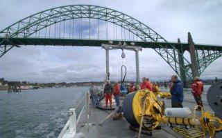 ISMT2 Mooring on Deck Yaquina Bay Bridge Background