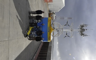Surface buoy and glider ready for deployment in Southern Ocean