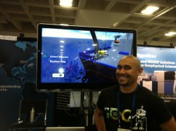 The DEEP video game, created by Danny Rohrlick, CI Programmer Analyst, was a big hit at the OOI booth, allowing players to explore hydrothermal vents. (Photo Credit: OOI Communications)