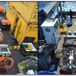 Before (left) and after (right) images of cable reels and secondary nodes on the fantail of the R/V Thompson during the VISIONS'13 expedition. By the end of the cruise, 13.7 miles of orange extension cables had been laid on the seafloor and there was nothing else left to deploy. (Photo credit: Mitchell Elend, University of Washington)