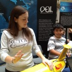 Jessica Castoro from Rutgers, explains glider operation to an interested student. (Photo Credit: Kerry Beck)