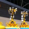 Five Pioneer Array Wire-Following Profiler Mooring surface buoys await deployment. (Photo Credit: Ed Chapman, OOI PMO)