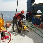 Deployment preparations of an ADCP, a component of the Global Surface Mooring. (Photo Credit: OOI Coastal Global Scale Nodes program Argentine Basin deployment team)