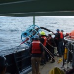 Deployment of the Argentine Basin Surface Mooring near surface instrument frame. (Photo Credit: OOI Coastal Global Scale Nodes program Argentine Basin deployment team)