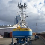 Global Southern Ocean Surface Mooring (GSSM) buoy assembled and under test in the port of Punta Arenas, Chile in early February 2015 prior to the cruise on RV Atlantis to deploy the Southern Ocean Array. (Credit: John Lund, Woods Hole Oceanographic Institution)