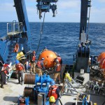 Deck work during the deployment of the Global Profiler Mooring on board of the R/V Atlantis. (Photo Credit: OOI Coastal Global Scale Nodes program Argentine Basin deployment team)