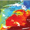 """Satellite imagery shows the exchange of warm core ring water (red) with the colder continental shelf waters (blue). Satellite imagery, however, could not help scientists determine the underlying process for the warm water intrusion; instead they used data from ocean robots or """"gliders"""" recently installed off the coast of Massachusetts. The scientists have dubbed the events """"Pinocchio's Nose Intrusions"""" (PNI) because the warm intruding water continues to 'grow' for hundreds of miles, moving in the opposite direction from the northward movement of the Gulf Stream. (Illustration by Jack Cook, Woods Hole Oceanographic Institution)"""