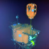 Resting 200 meters under water at the base of the Axial Seamount, the Cabled Shallow Profiler Mooring science pod hovers above its docking station. Soon it will begin its ascent toward the surface, sampling the water column using the instruments (black cylinders) attached to the pod.  Credit: NSF-OOI/UW/ISS; Dive R1842; V15