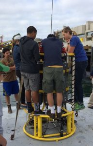 Teaching high school students how to set up a CTD on the RV Sproul in San Diego Bay. Photo Credit Julia Fiedler.