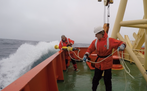 Preparing to deploy a SOCCOM float from the RV Palmer in rough conditions near the OOI Southern Ocean mooring in December 2015. Photo credit OOI.