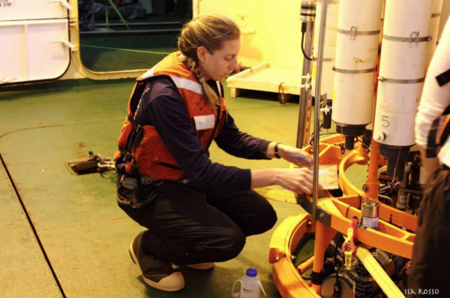 Preparing instruments on the CTD for deployment on the RV Palmer in 2014. Photo credit Isa Rosso.