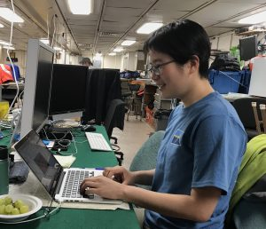 Analyzing echo data from ship ADCP in the main lab onboard R/V Roger Revelle. Credit: Romina Centurion/UW